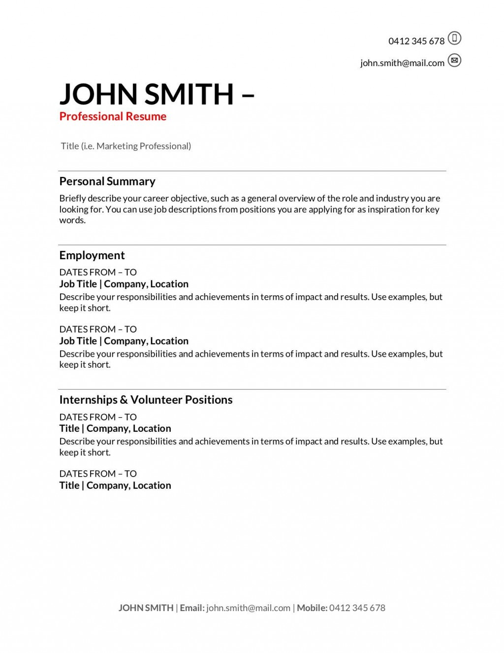006 Impressive Resume Template For First Job High Def  Free TeenagerLarge
