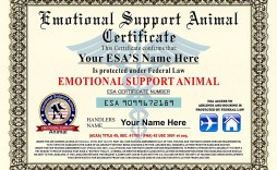 006 Impressive Service Dog Certificate Template High Resolution  Printable Id Free