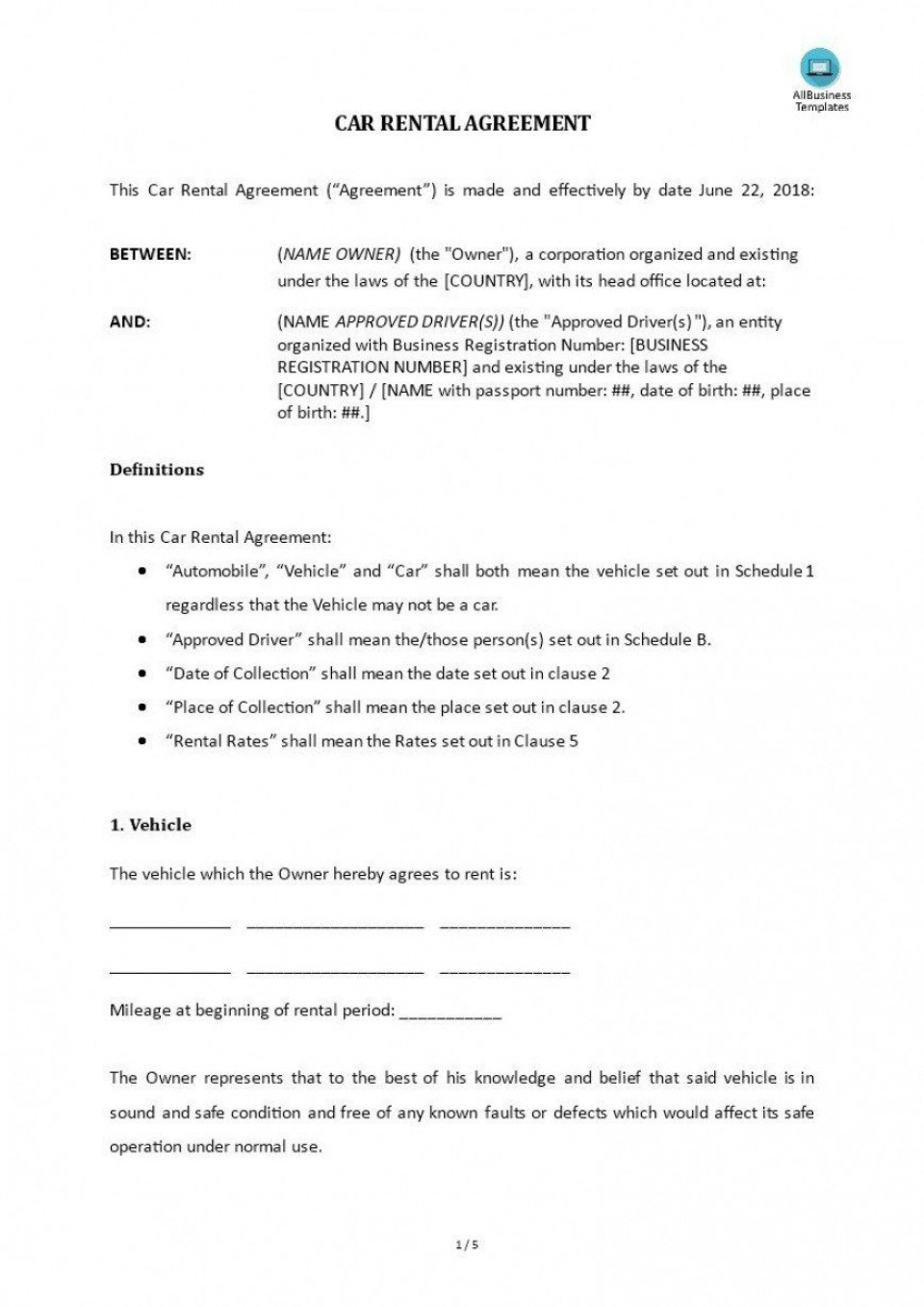 006 Impressive Template For Car Hire Agreement Highest Clarity 960