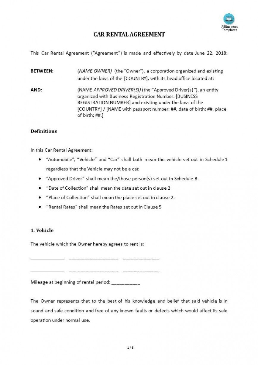 006 Impressive Template For Car Hire Agreement Highest Clarity Full
