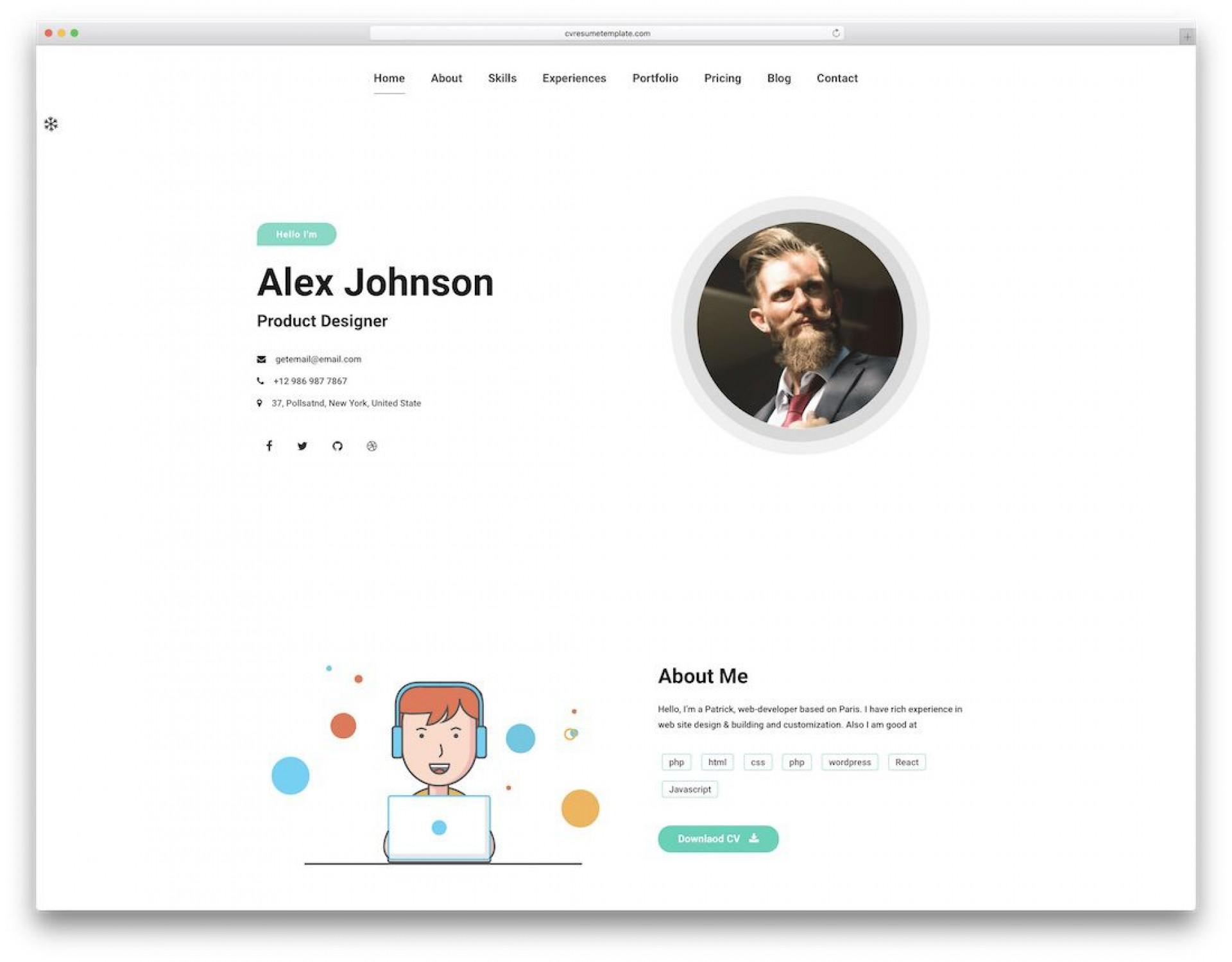 006 Impressive Web Developer Portfolio Template Idea  Templates Best Design Theme Free Wordpres1920