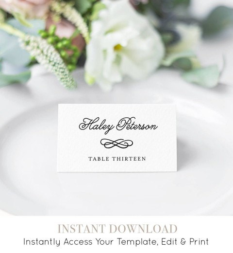 006 Impressive Wedding Name Card Template Example  Free Download Design Sticker Format480