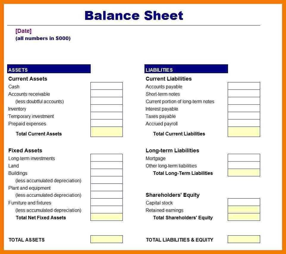 006 Incredible Busines Balance Sheet Template Example  Word Excel Small SampleFull