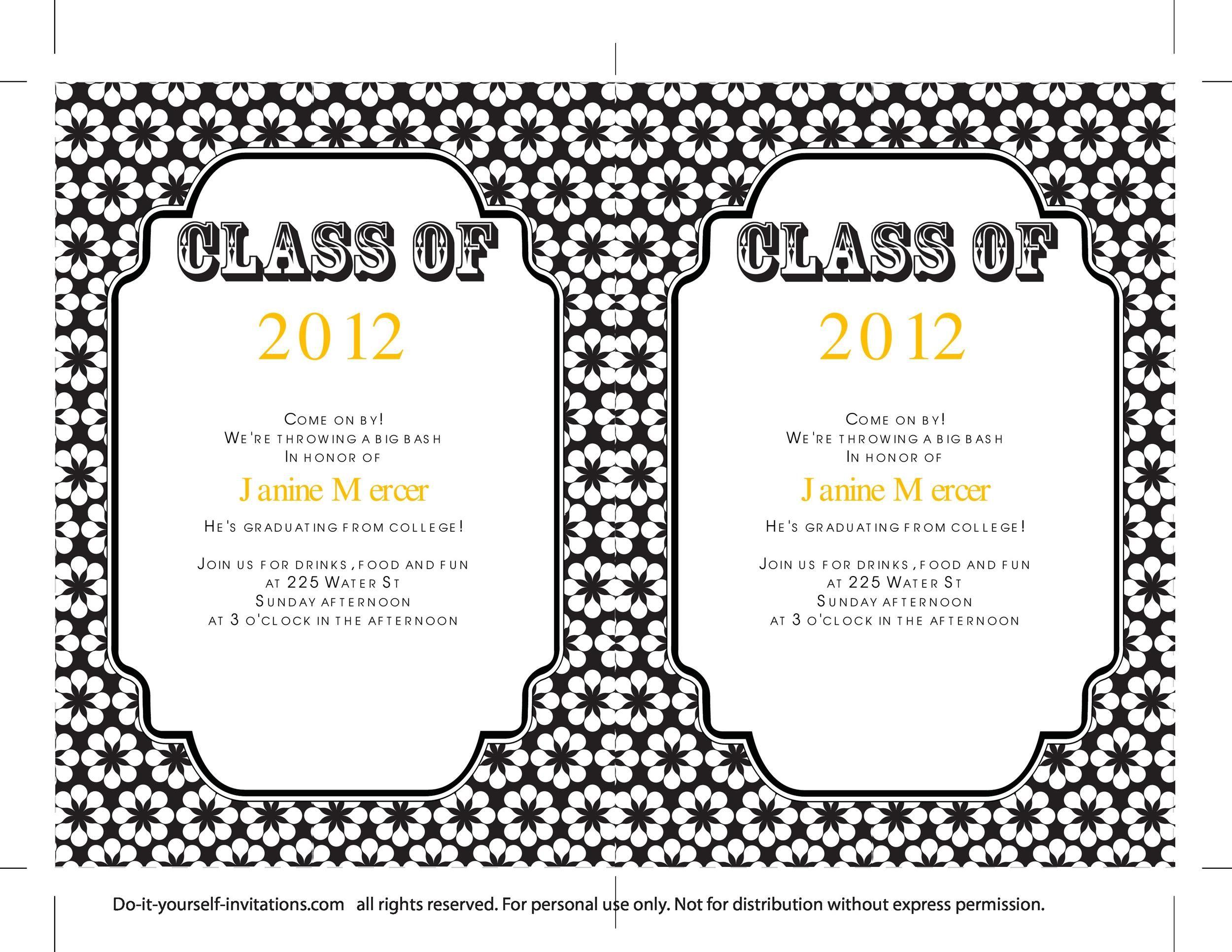 006 Incredible Diy Graduation Announcement Template Free Design  InvitationFull