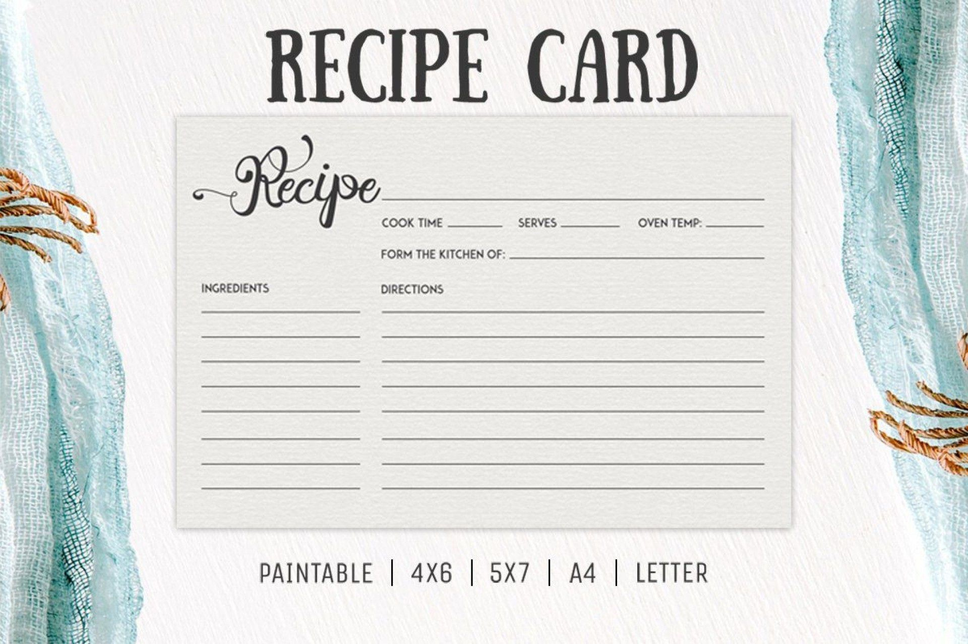 006 Incredible Free 4x6 Recipe Card Template For Microsoft Word High Def  Editable1920