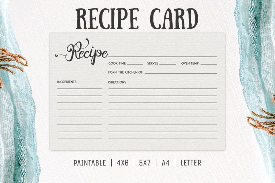 006 Incredible Free 4x6 Recipe Card Template For Microsoft Word High Def  Editable960