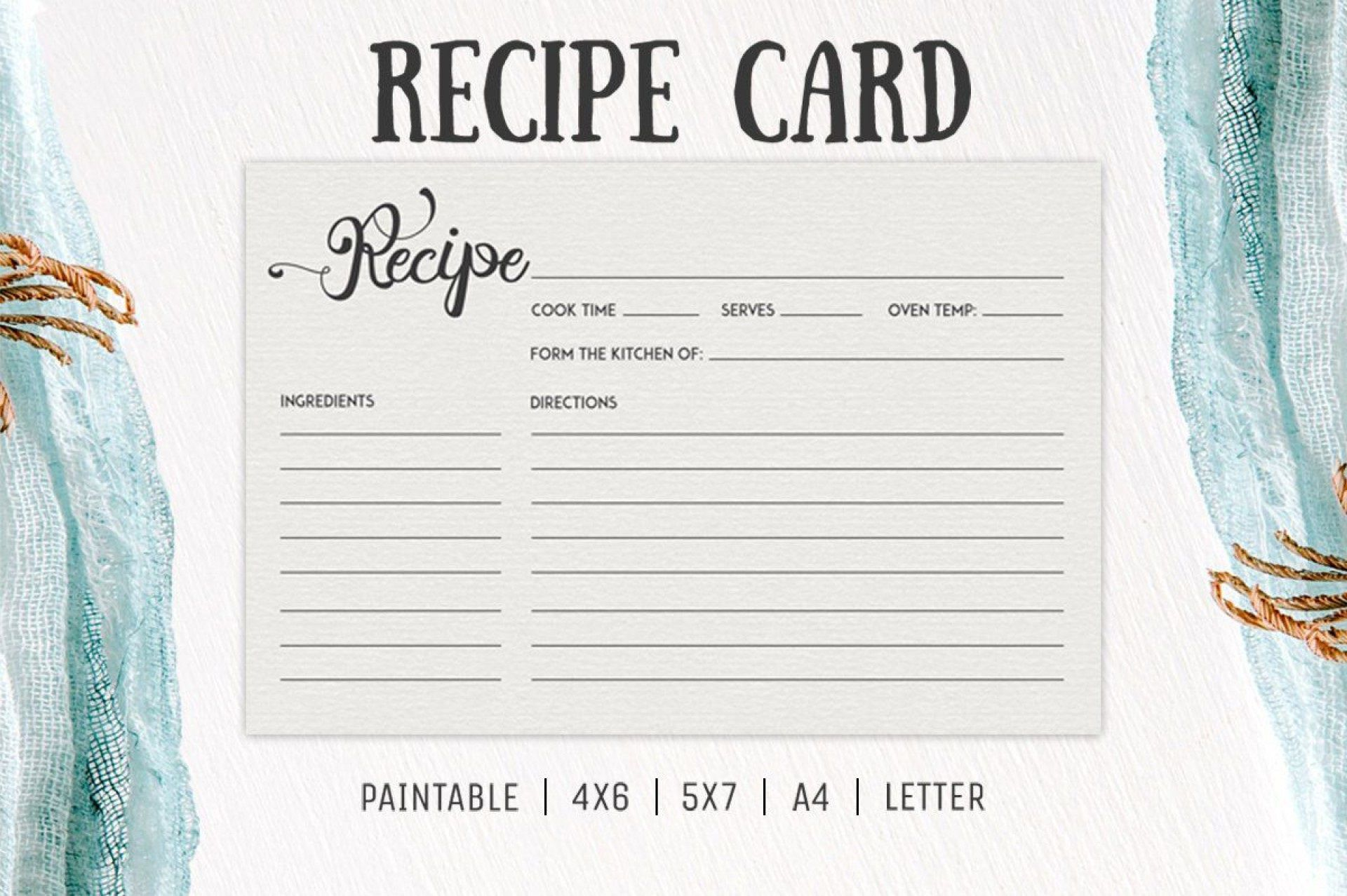 006 Incredible Free 4x6 Recipe Card Template For Microsoft Word High Def  EditableFull