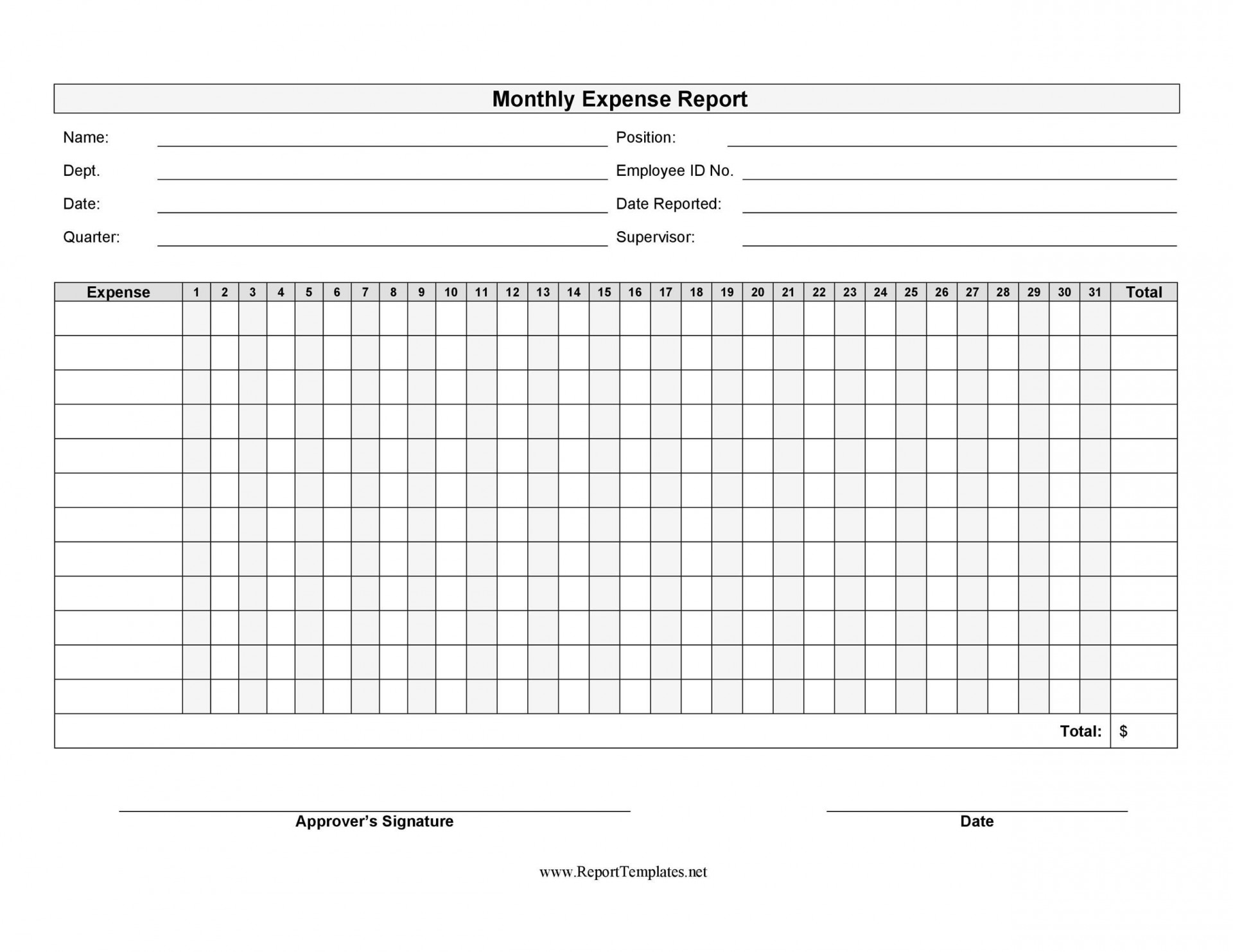 006 Incredible Free Blank Expense Report Form Highest Quality  Forms Template1920