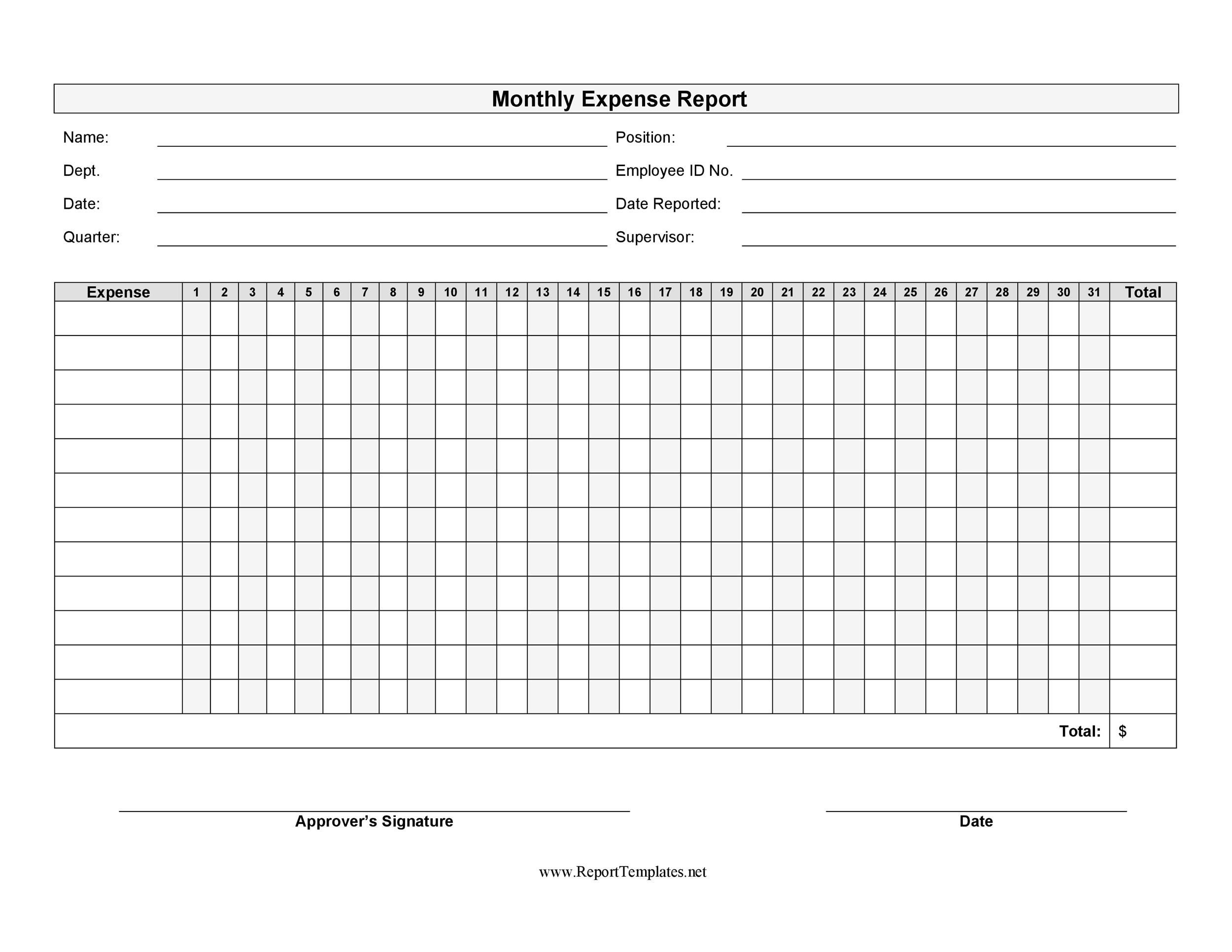 006 Incredible Free Blank Expense Report Form Highest Quality  Forms TemplateFull