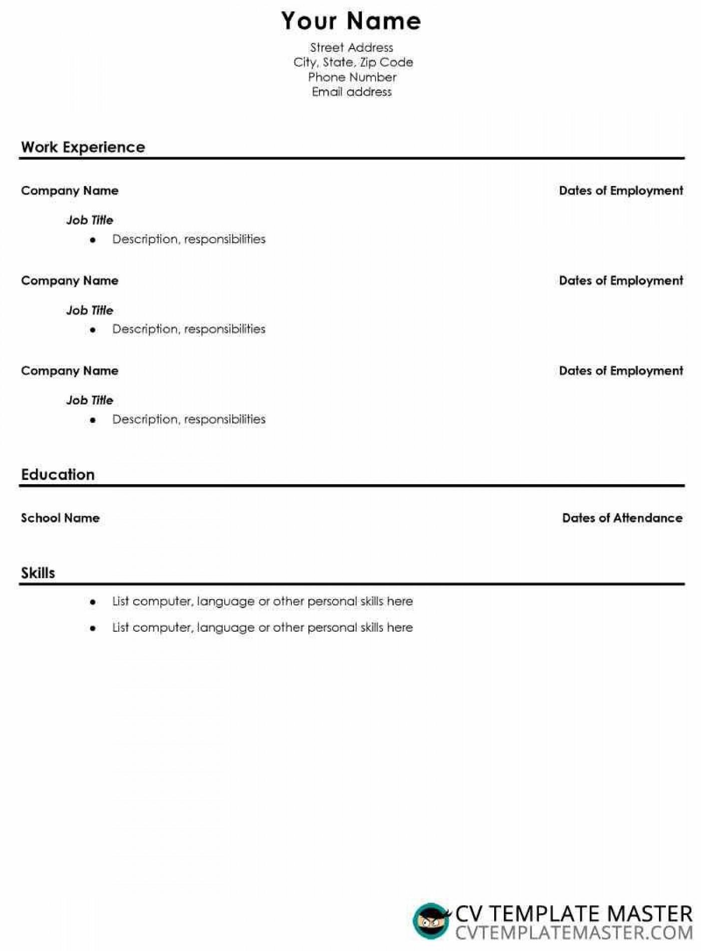 006 Incredible Free High School Resume Template Microsoft Word Photo 1400