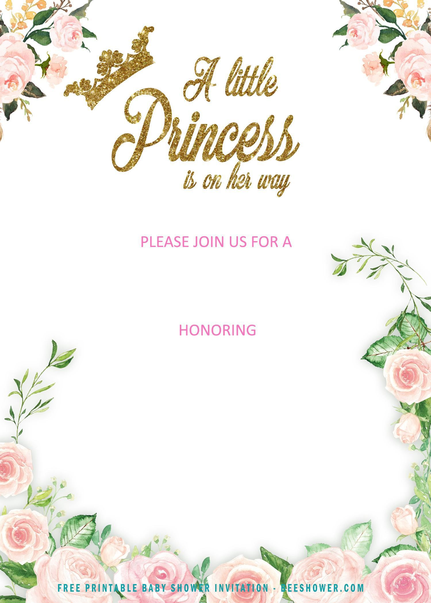 006 Incredible Free Princes Baby Shower Invitation Template For Word Sample Full