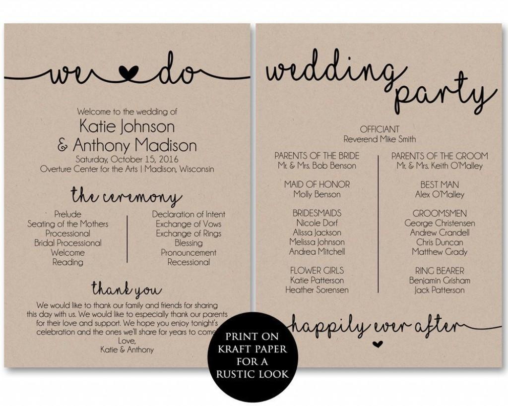 006 Incredible Free Printable Wedding Program Template Inspiration  Templates Microsoft Word IndianLarge