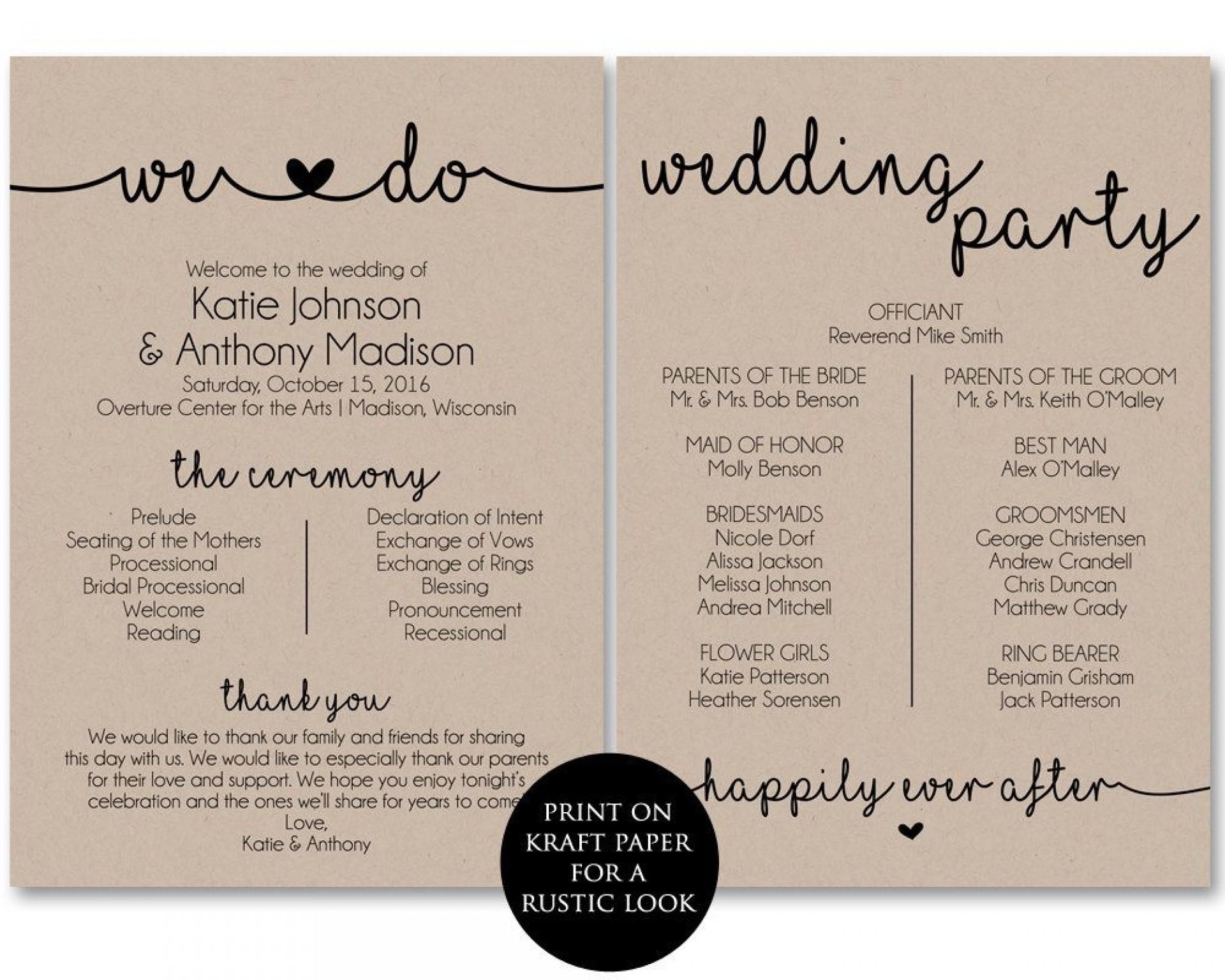 006 Incredible Free Printable Wedding Program Template Inspiration  Templates Microsoft Word Indian1920