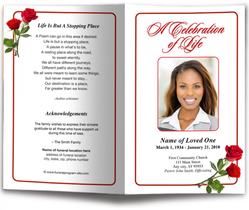 006 Incredible Funeral Program Template Free Inspiration  Printable Design960