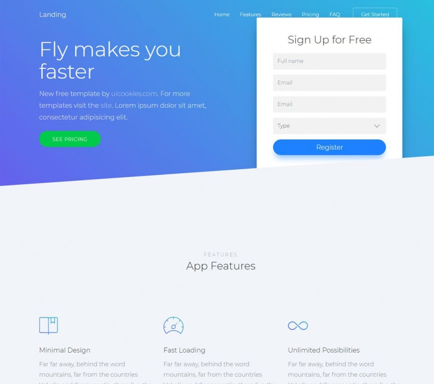 006 Incredible Html Landing Page Template Free Concept  Download