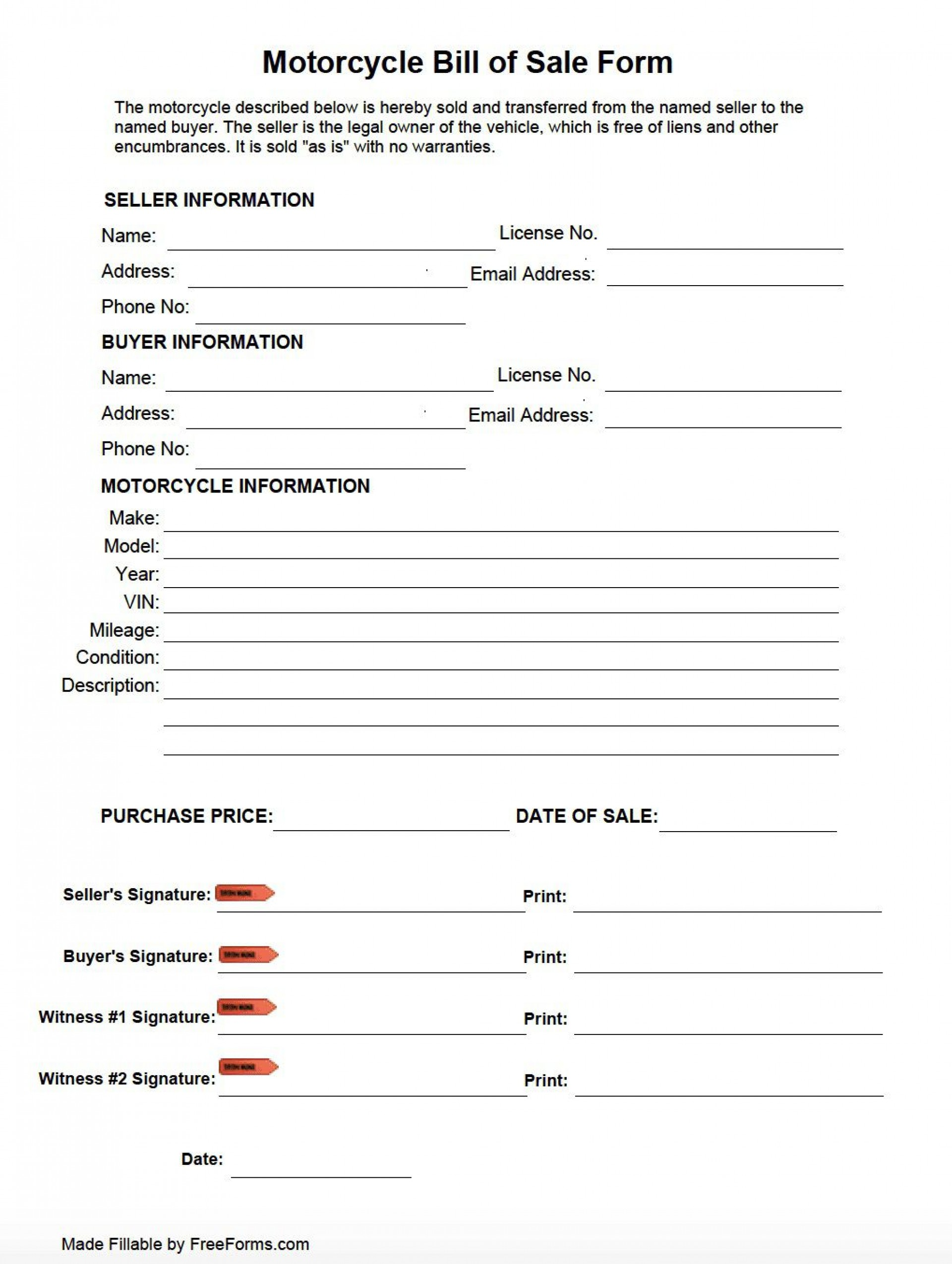 006 Incredible Motorcycle Bill Of Sale Template Image  Ontario Printable Word California1920