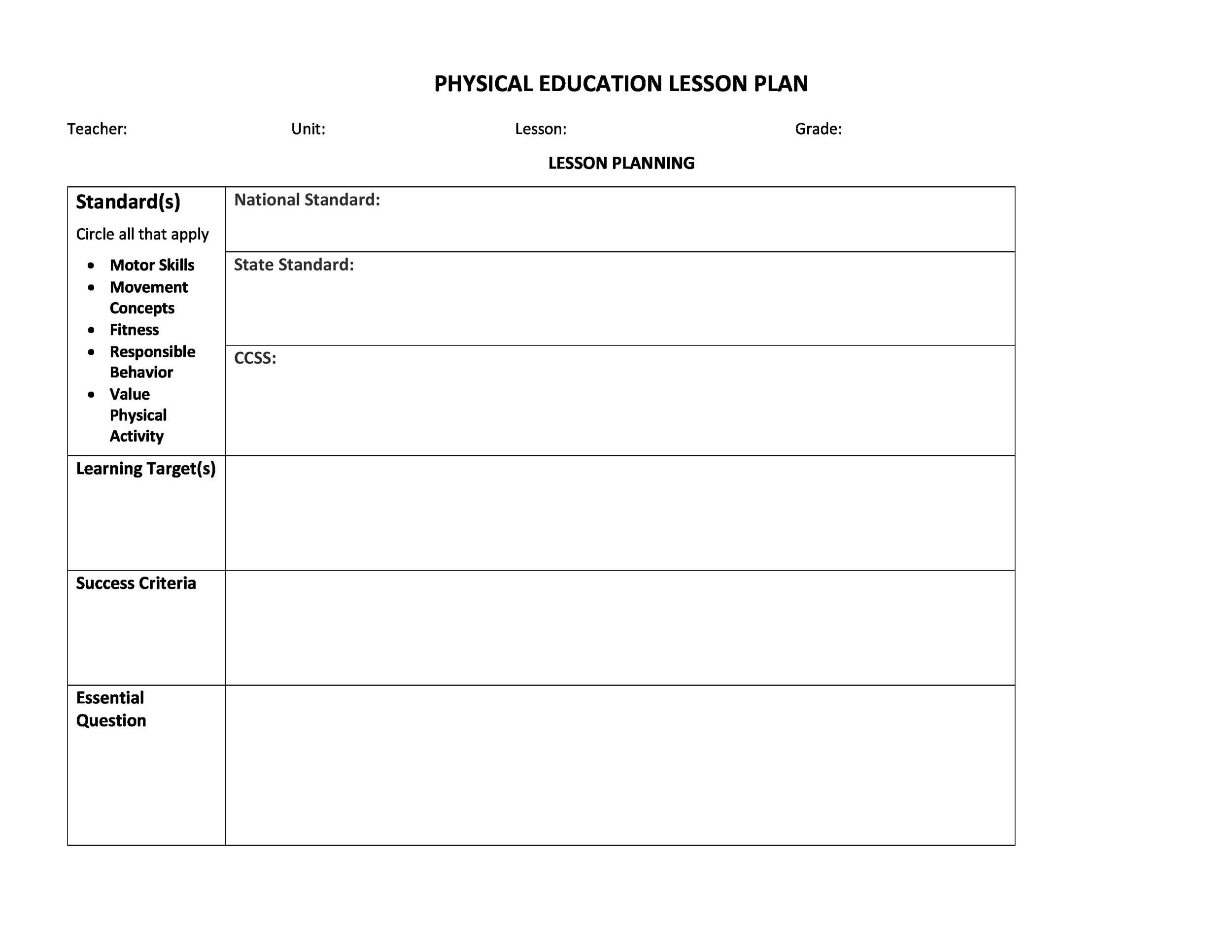 006 Incredible Physical Education Lesson Plan Template Inspiration  Elementary PdfFull