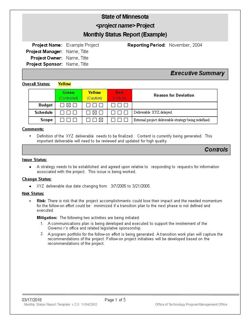 006 Incredible Project Management Monthly Progres Report Template Example Full