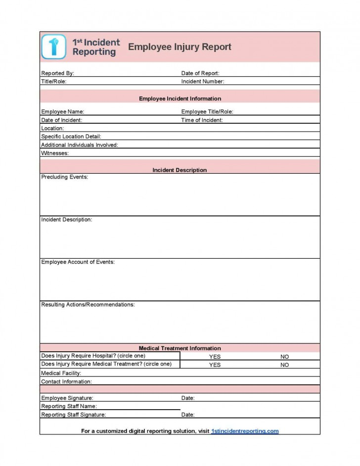 006 Incredible Workplace Incident Report Form Ontario Design  Violence728