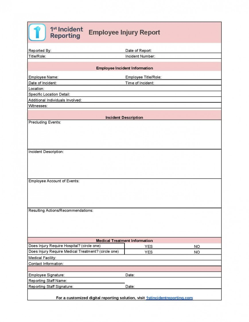 006 Incredible Workplace Incident Report Form Ontario Design  Violence868