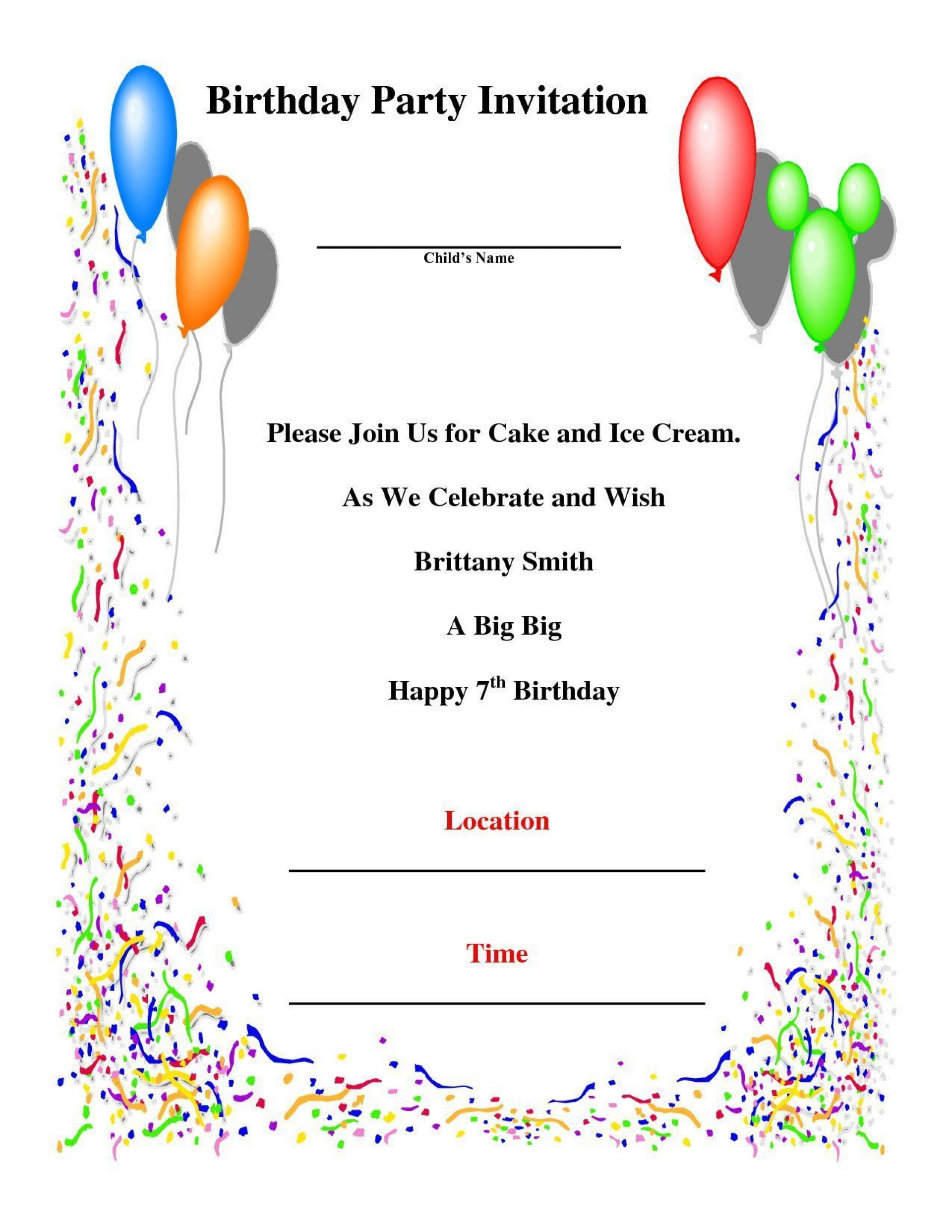 006 Magnificent Birthday Party Invitation Template Word Free High Resolution  Download Invite1920