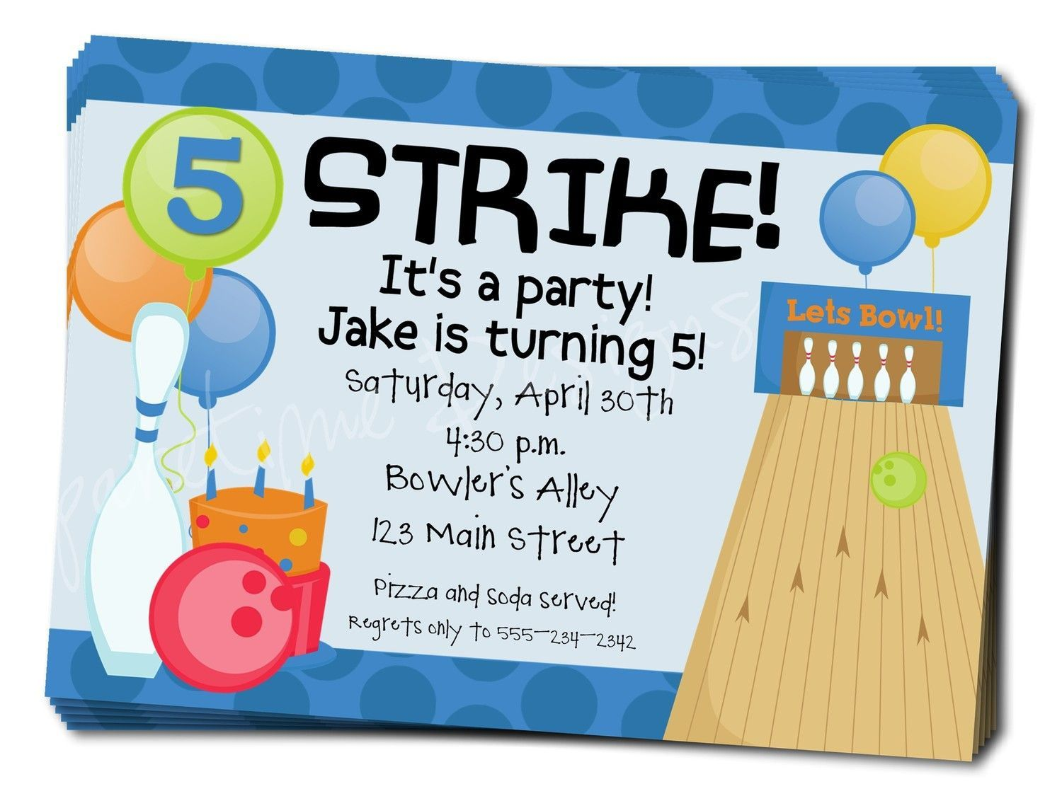 006 Magnificent Bowling Party Invite Printable Free Highest Quality  Birthday InvitationFull