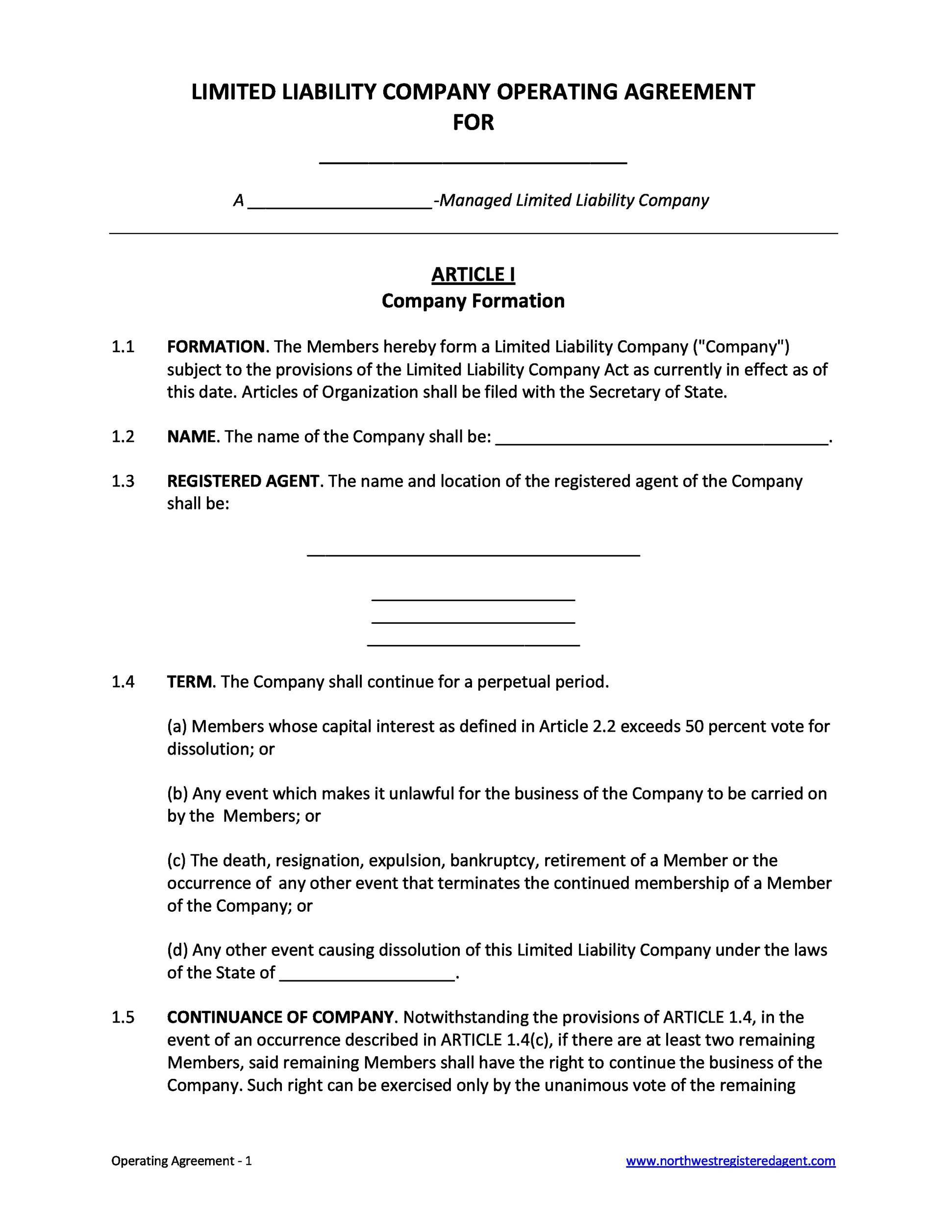 006 Magnificent Free Operating Agreement Template Concept  Pdf Missouri LlcFull