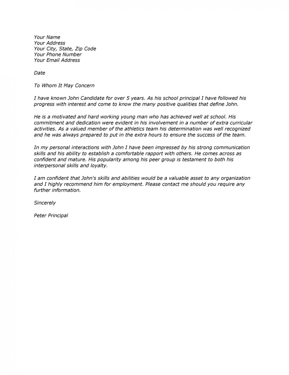 006 Magnificent Free Reference Letter Template From Employer Image  For Employment Word960