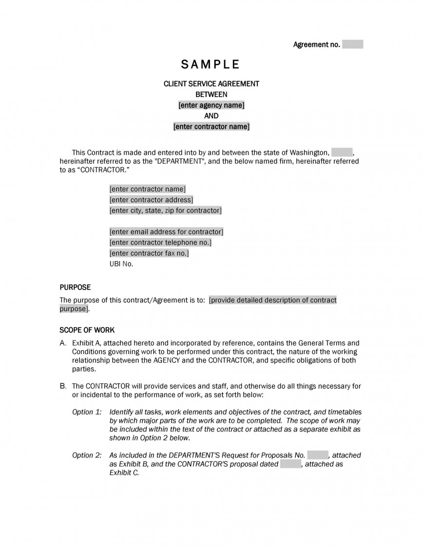 006 Magnificent Free Service Contract Template Doc High Def 868