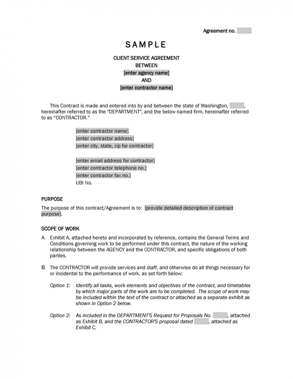 006 Magnificent Free Service Contract Template Doc High Def 960