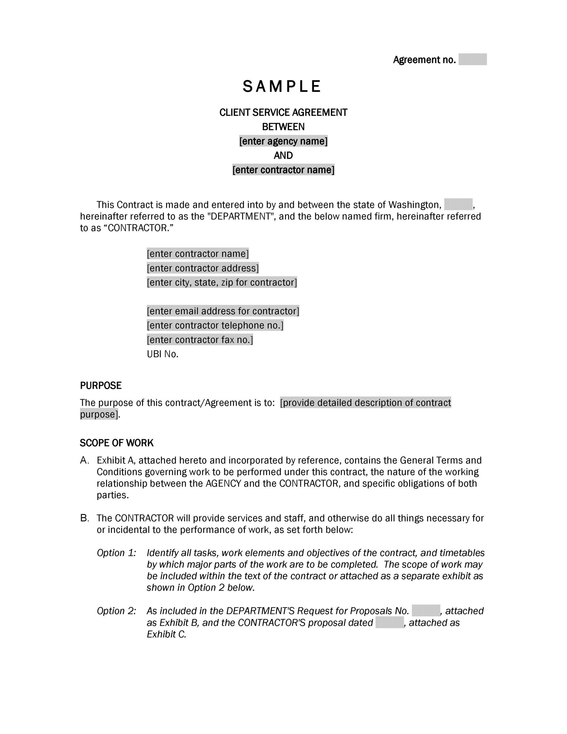 006 Magnificent Free Service Contract Template Doc High Def Full
