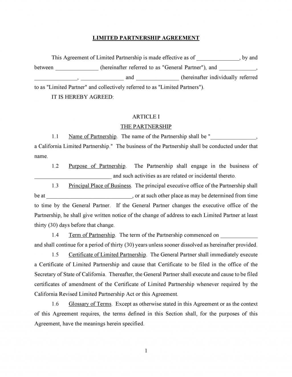006 Magnificent General Partnership Agreement Template Canada Example Large