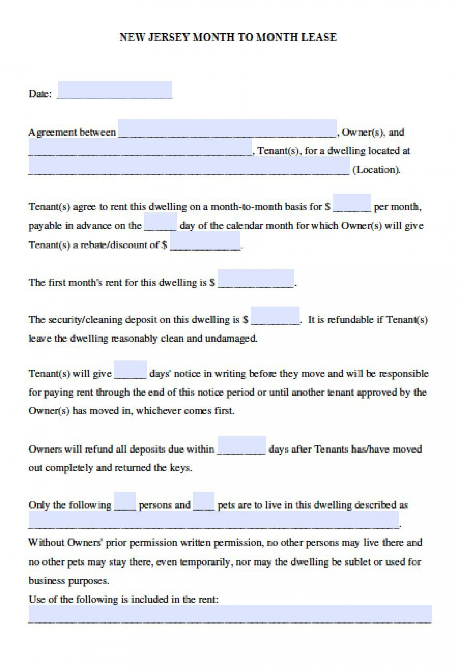 006 Magnificent Generic Rental Lease Agreement Nj Inspiration  Sample1920