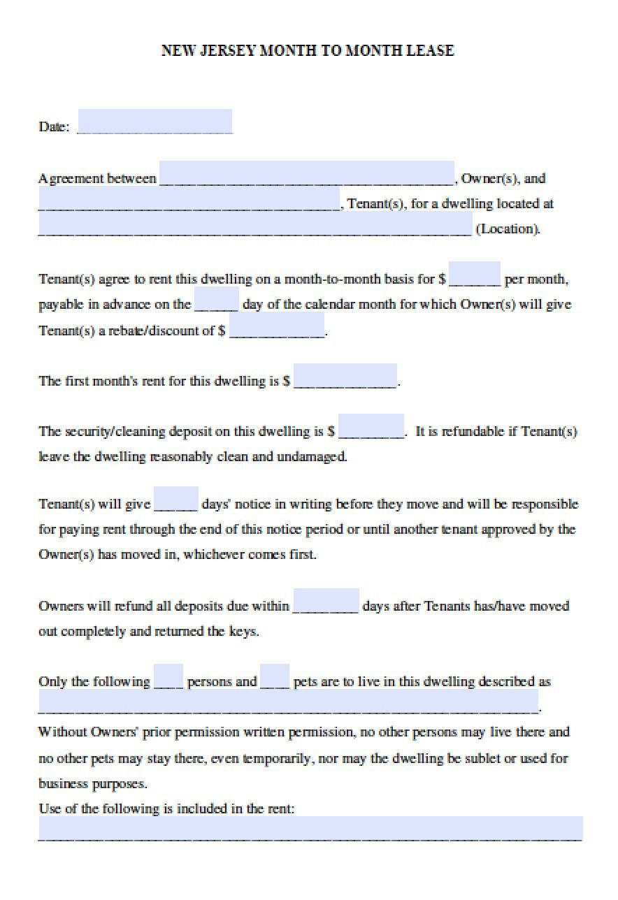 006 Magnificent Generic Rental Lease Agreement Nj Inspiration  Sample