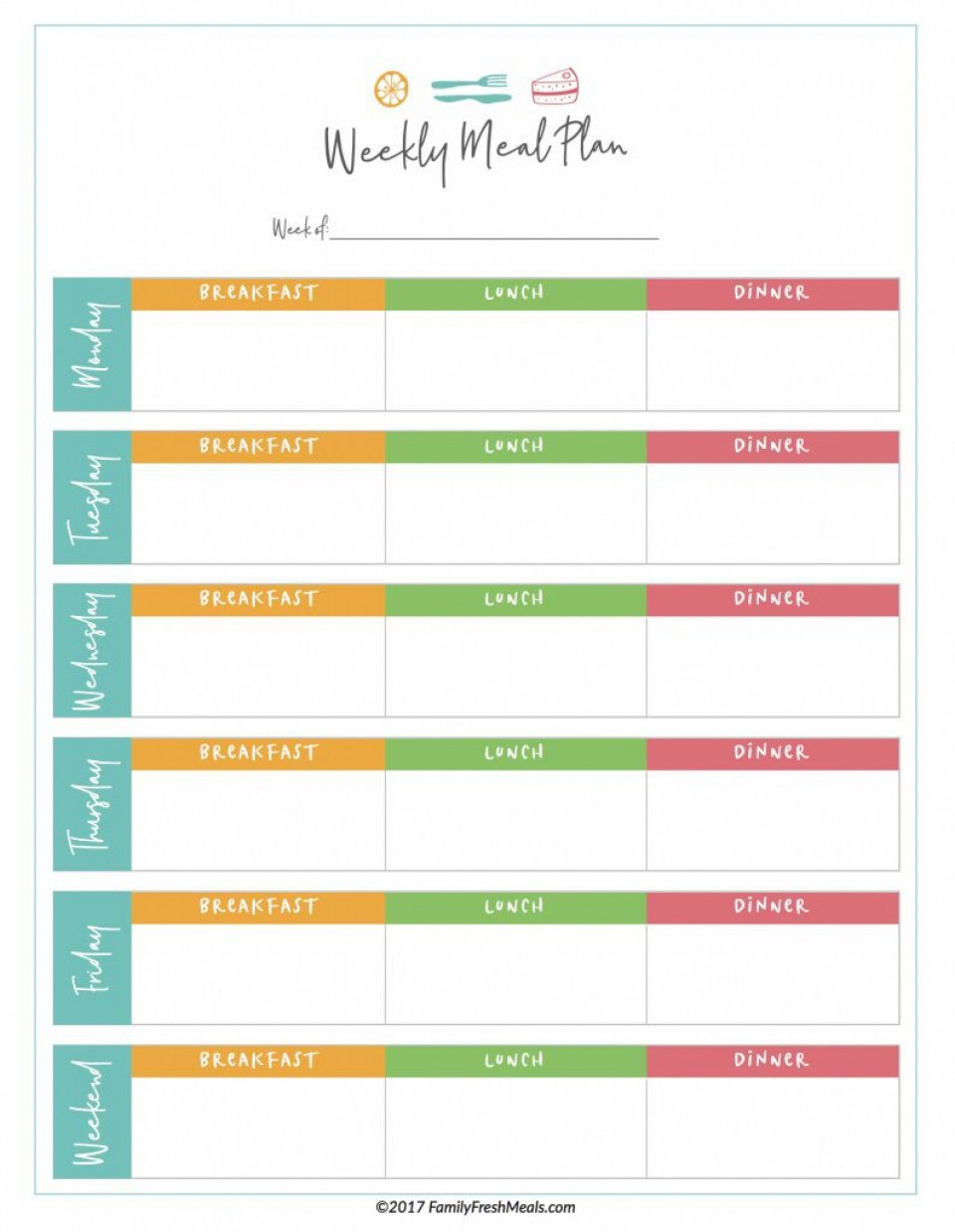 006 Magnificent Meal Plan Printable Pdf Photo  Worksheet Downloadable Template Sheet960