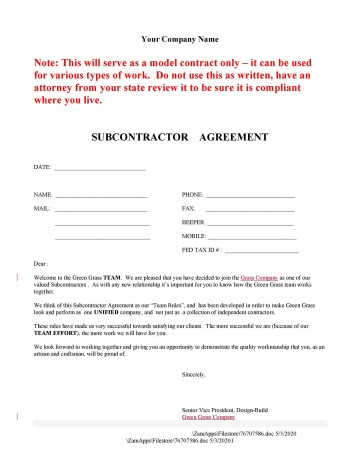 006 Magnificent Subcontractor Contract Template Free Example  Uk360