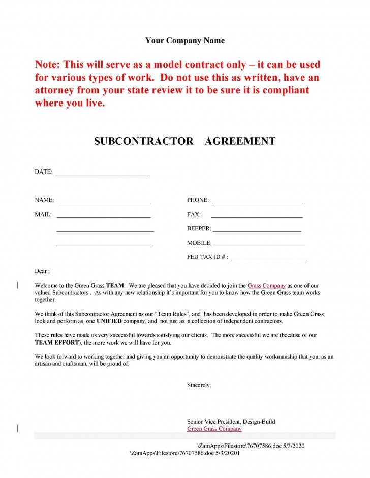 006 Magnificent Subcontractor Contract Template Free Example  Uk728