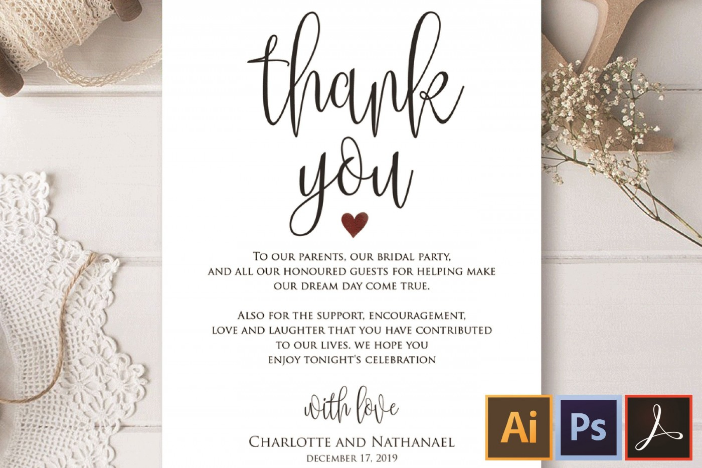006 Magnificent Wedding Thank You Card Template Example  Photoshop Word Etsy1400