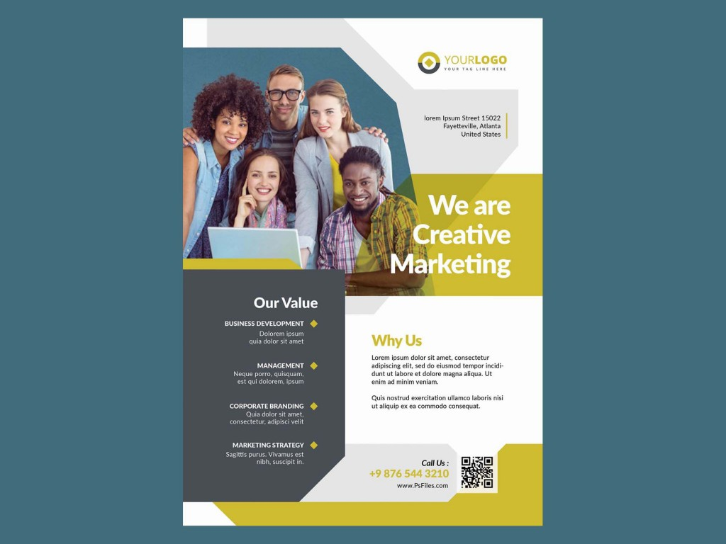 006 Marvelou Busines Flyer Template Free Picture  Psd 2018 Vector Brochure TrainingLarge
