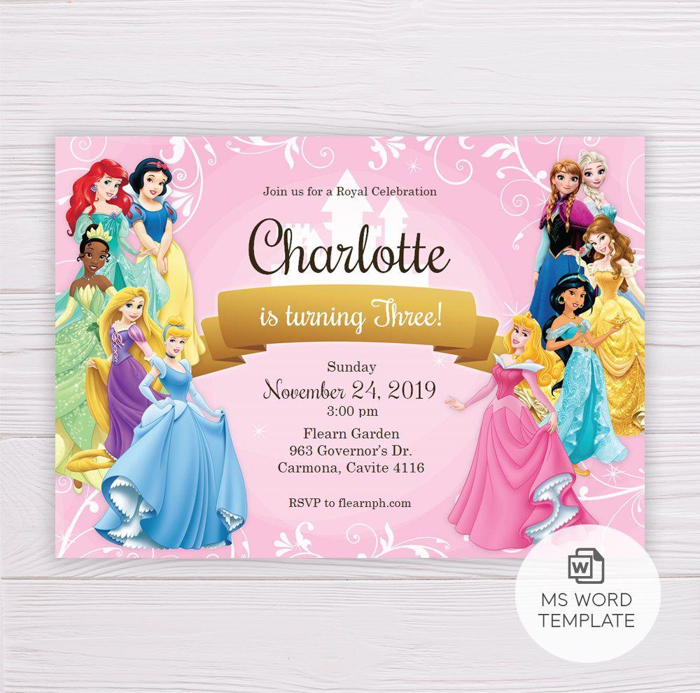 006 Marvelou Disney Princes Invitation Template Image  Downloadable Party Free Printable BirthdayFull