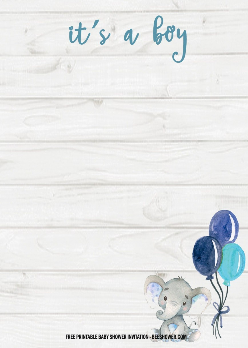 006 Marvelou Elephant Baby Shower Invitation Template Example  Templates Free Pdf Boy