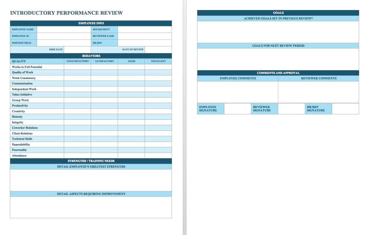 006 Marvelou Employee Performance Review Template Word Example  Microsoft DocumentFull