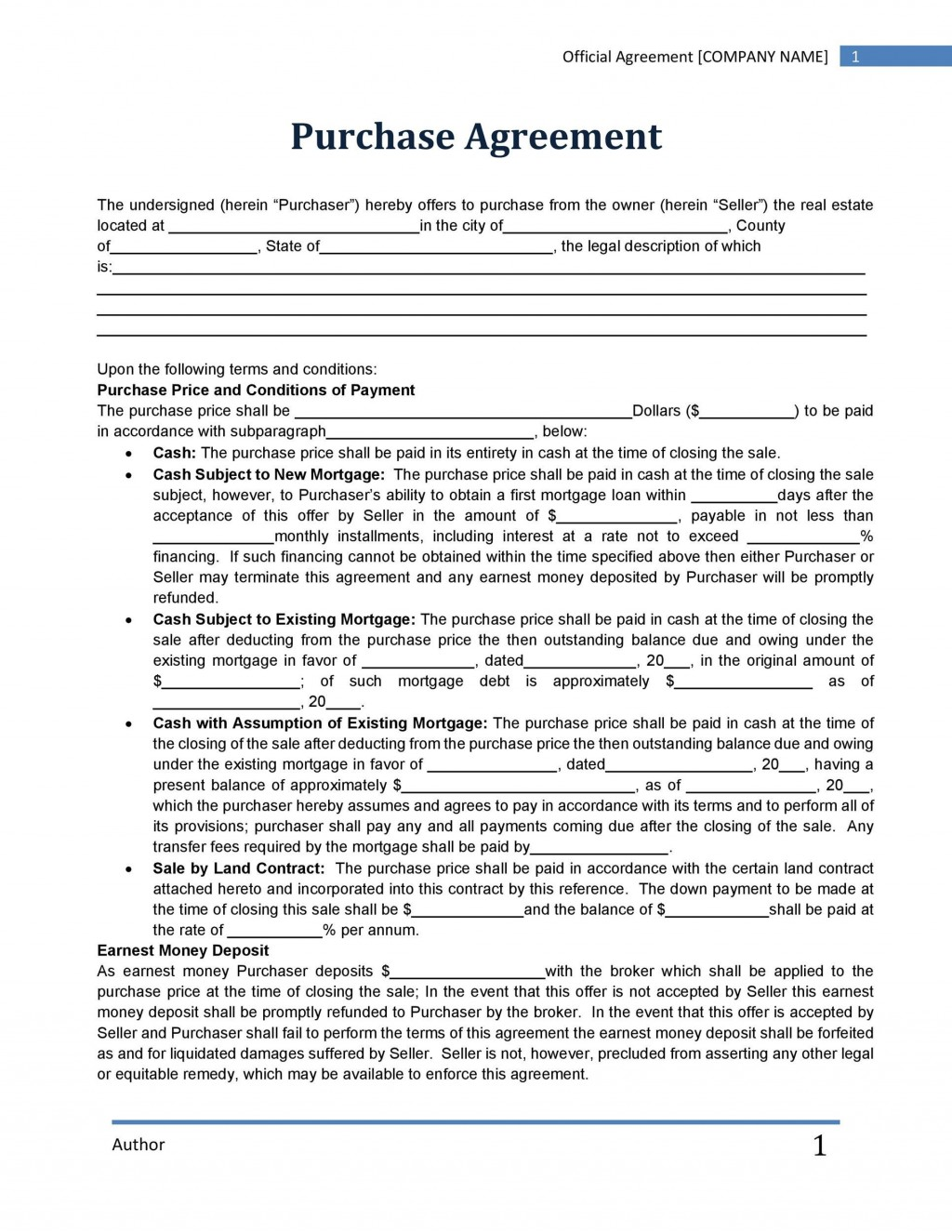 006 Marvelou Home Purchase Agreement Template Michigan High Resolution Large