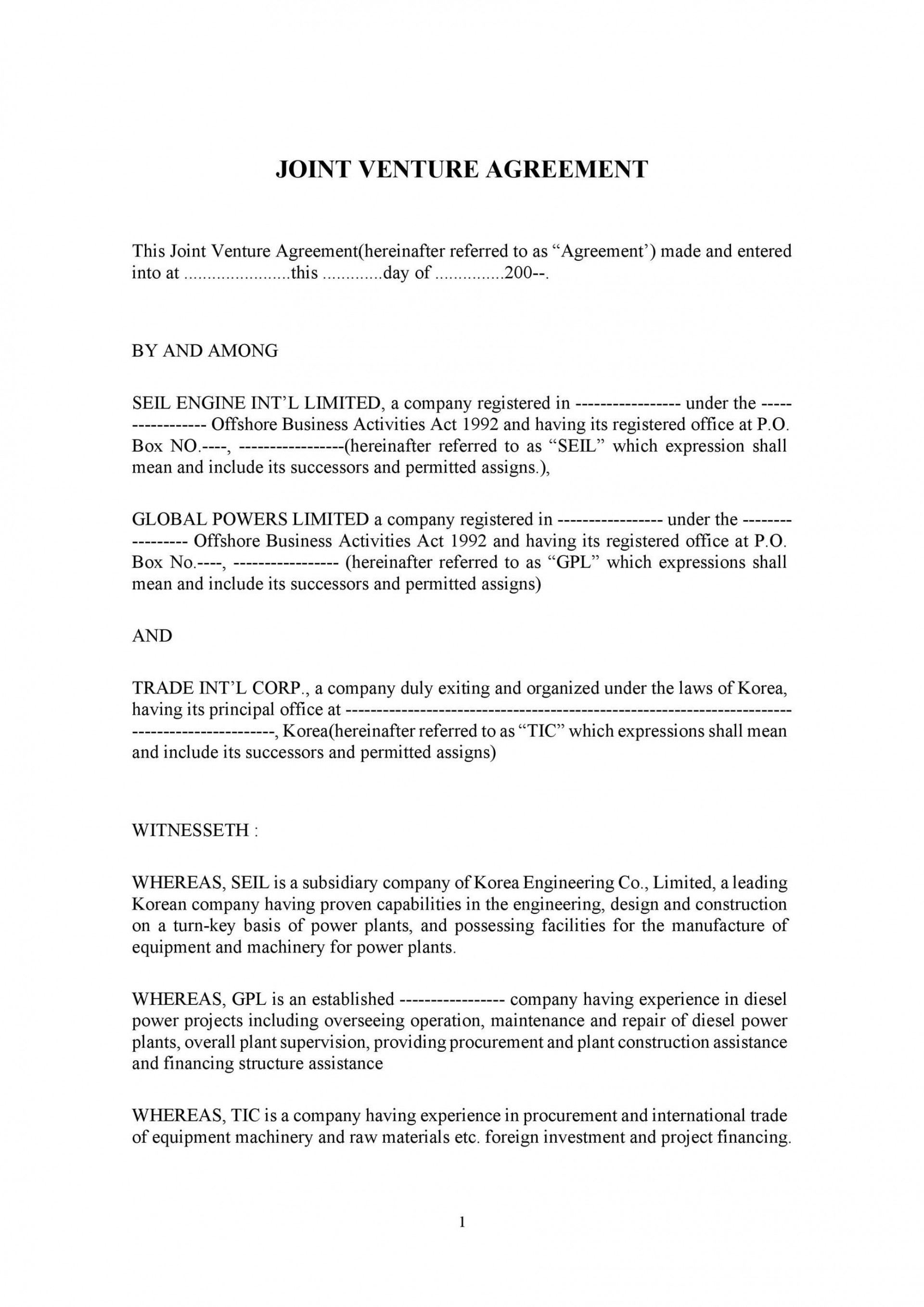 006 Marvelou Joint Venture Agreement Template Doc Example  Uk1920