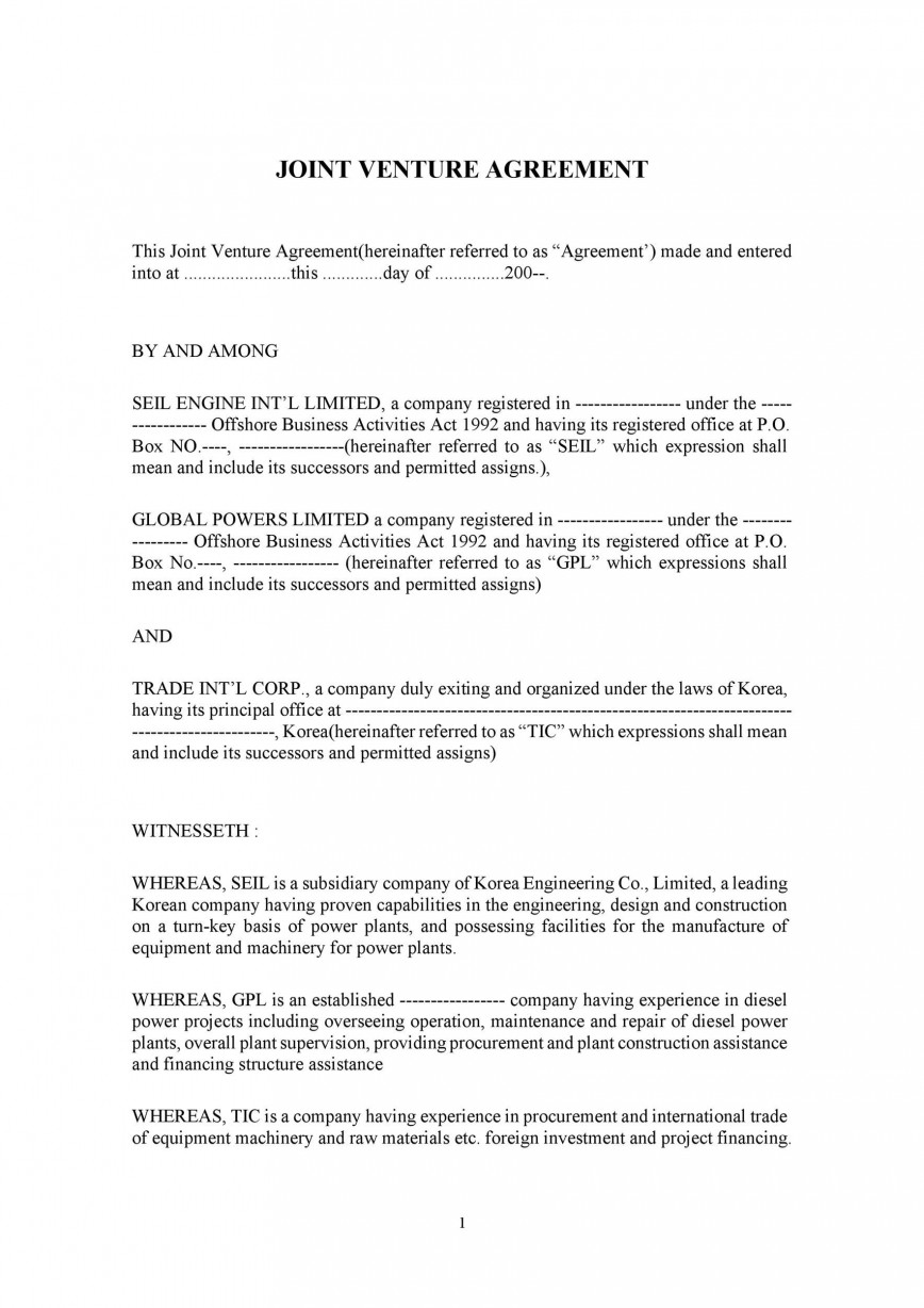 006 Marvelou Joint Venture Agreement Template Doc Example  Uk