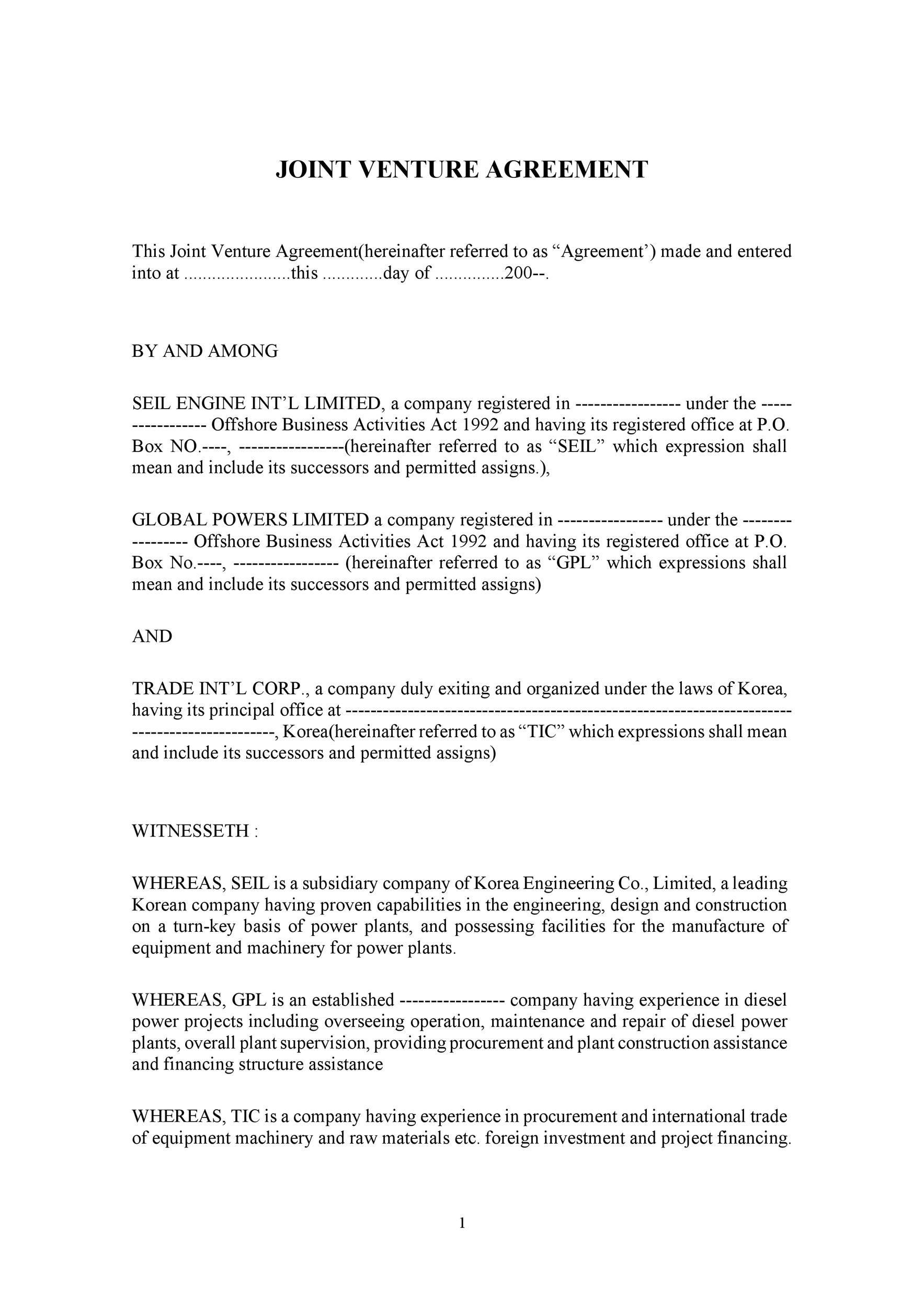006 Marvelou Joint Venture Agreement Template Doc Example  UkFull