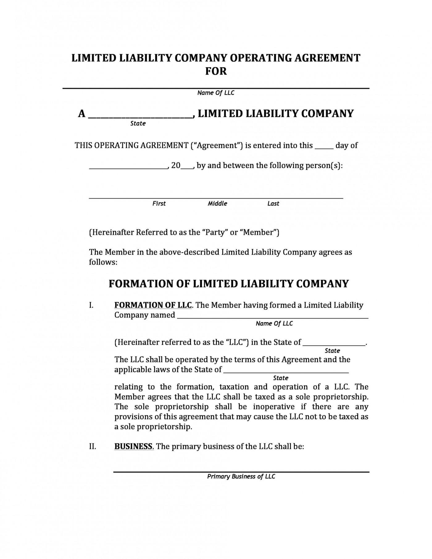 006 Marvelou Llc Partnership Agreement Template Image  Free Operating1400