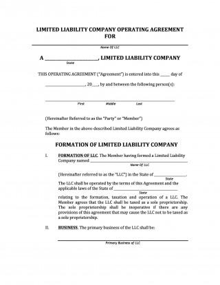 006 Marvelou Llc Partnership Agreement Template Image  Free Operating320