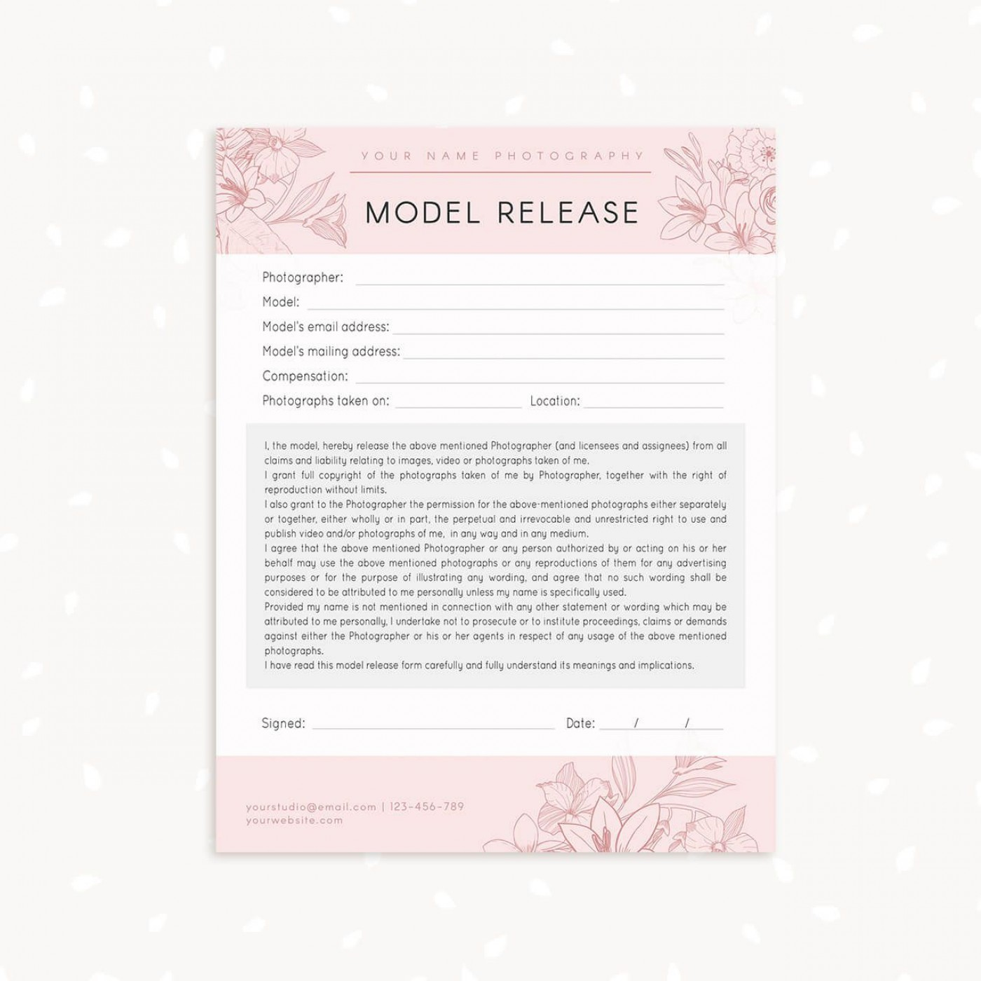 006 Marvelou Model Release Form Template Highest Clarity  Photographer Gdpr Simple1400