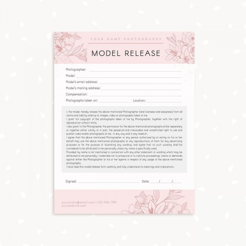 006 Marvelou Model Release Form Template Highest Clarity  Photographer Gdpr Simple480